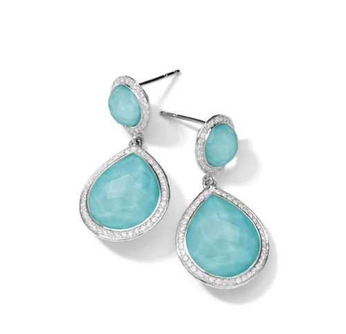 2-Stone Drop Earrings in Sterling Silver with Diamonds SE1152DFTQDIA