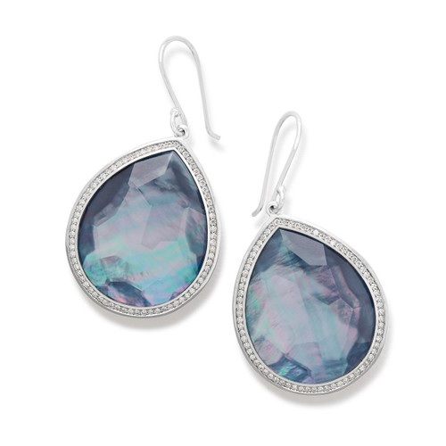 Large Teardrop Earrings in Sterling Silver with Diamonds SE1299TFCQMONXDI
