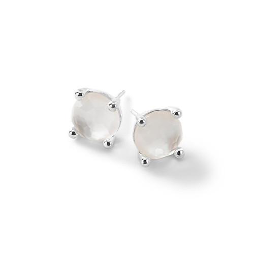 Single Stone Stud Earrings in Sterling Silver SE1503DFMOP