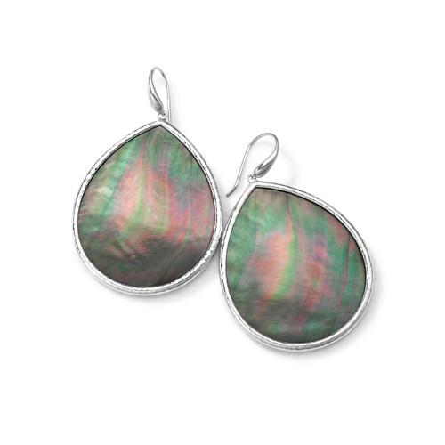 Large Teardrop Earrings in Sterling Silver SE1550BKLSL