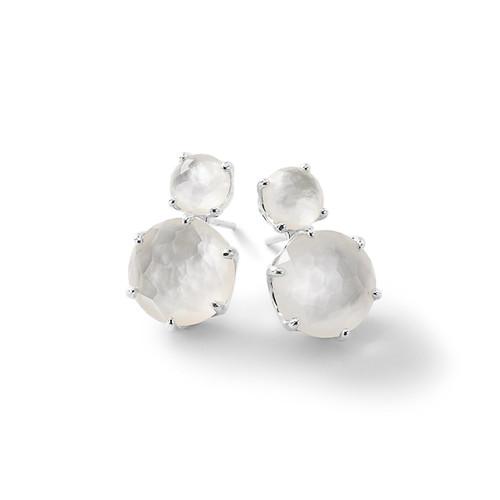 2-Stone Post Earrings in Sterling Silver SE1593DFMOP