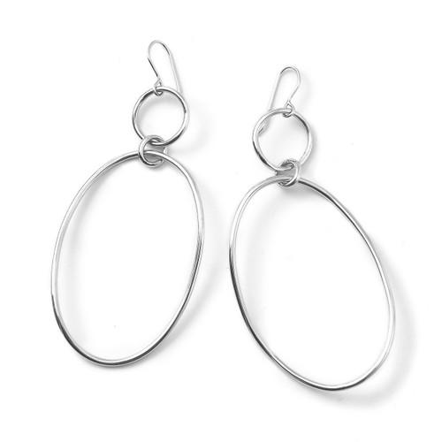Large Wavy Snowman Earrings in Sterling Silver SE1595