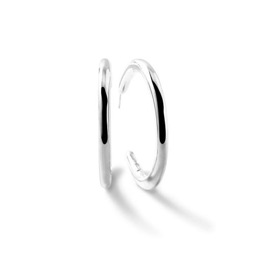 Medium Smooth Hoop Earrings in Sterling Silver SE1597