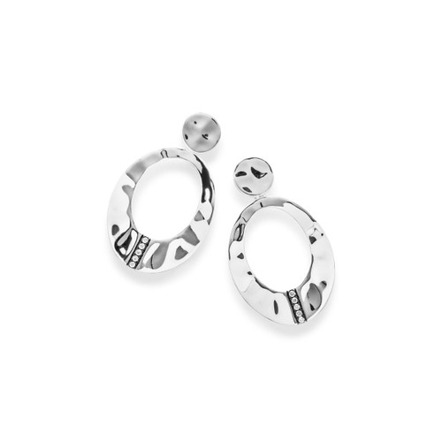 Small Wavy Oval Earrings in Sterling Silver with Diamonds SE1840DIA