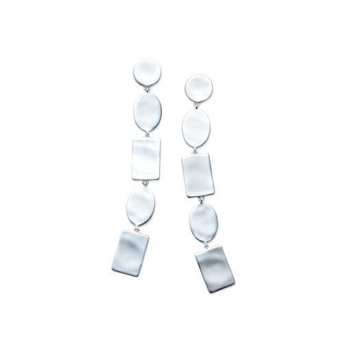 Multi Shape Linear Earrings in Sterling Silver SE1931