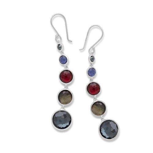 Lollitini 5-Stone Drop Earrings in Sterling Silver SE2106NOIR