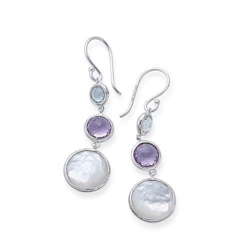 Lollitini 3-Stone Drop Earrings in Sterling Silver SE2107MULTI