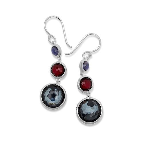 Lollitini 3-Stone Drop Earrings in Sterling Silver SE2107NOIR