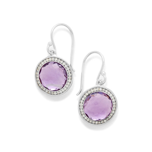 Round Earrings in Sterling Silver with Diamonds SE2124DAMDIA