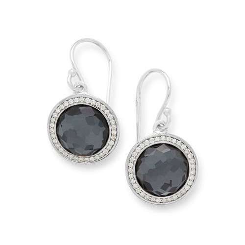 Round Earrings in Sterling Silver with Diamonds SE2124DFHEMDIA