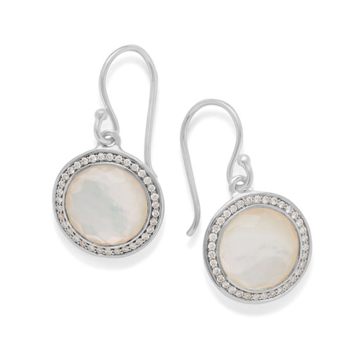 Round Earrings in Sterling Silver with Diamonds SE2124DFMOPDIA
