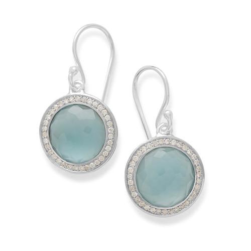 Round Earrings in Sterling Silver with Diamonds SE2124DFSBTMGLDI