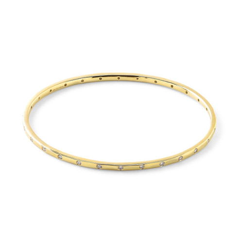 28-Stone Bangle in 18K Gold with Diamonds GB770DIA-PA