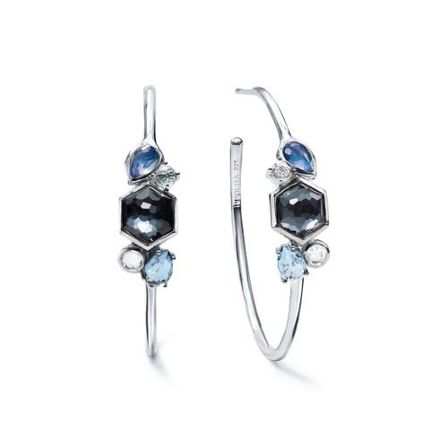 Stone Cluster Hoop Earrings in Sterling Silver SE2255ECLIPSE