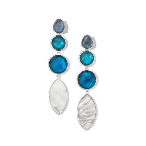 4-Stone Linear Earrings in Sterling Silver SE2272BLUEMOON