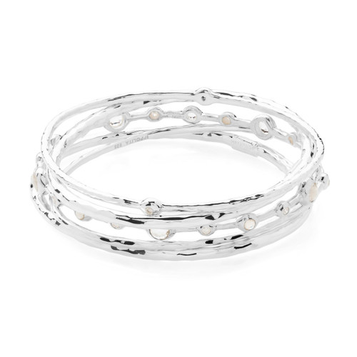 Bangle Set in Sterling Silver with Diamonds SET131SCQDIA