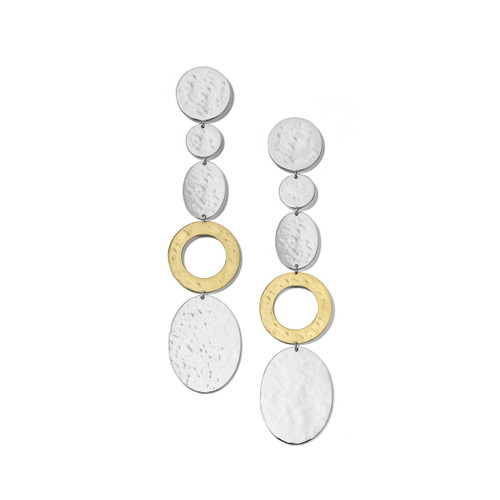 Hammered Linear Disc Earrings in Chimera SGE2347