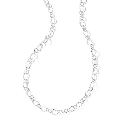 Long Bean Link Necklace in Sterling Silver SN094X40