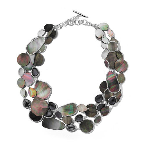 3 Row Multi Shape Necklace in Sterling Silver SN1089DFHEMBKL