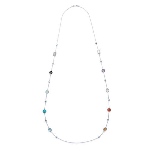 Multi Stone Necklace in Sterling Silver SN1234MULTIX42