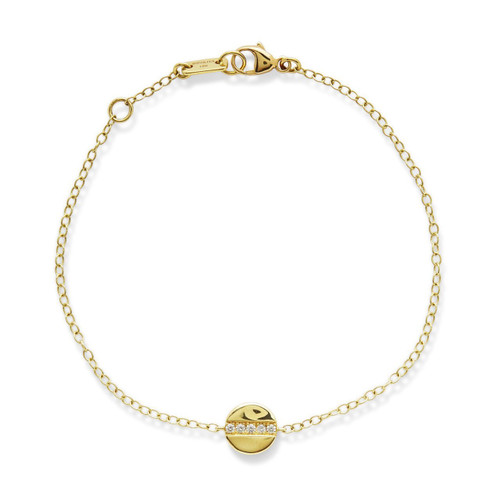 Mini Disc Bracelet in 18K Gold with Diamonds GB899DIA