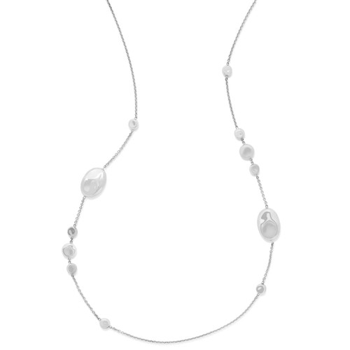 Jumbo Multi Pebble Station Necklace in Sterling Silver SN1596