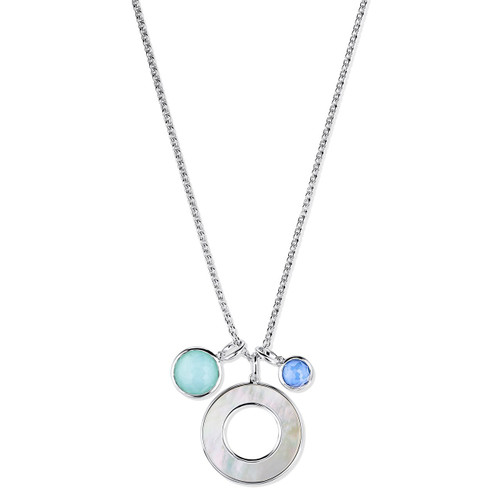 Shell and Stone Pendant Necklace in Sterling Silver SN1683BRAZBLUE