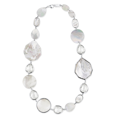 Single Row Multi Shape Necklace in Sterling Silver SN1708CQMOP
