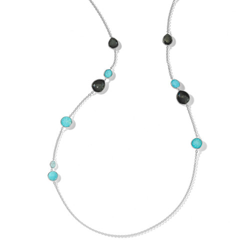Mixed Stone Long Necklace in Sterling Silver SN1739MARITIME