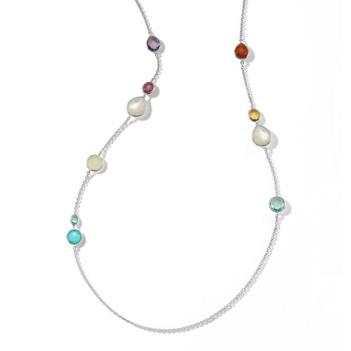 Mixed Stone Long Necklace in Sterling Silver SN1739MULTI