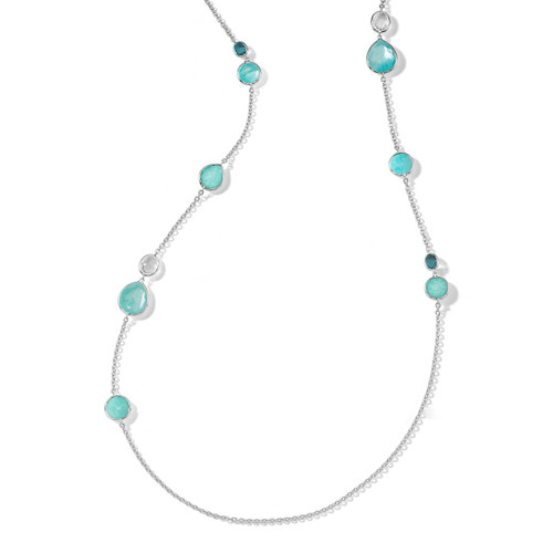 Mixed Stone Long Necklace in Sterling Silver SN1739WATERFALL