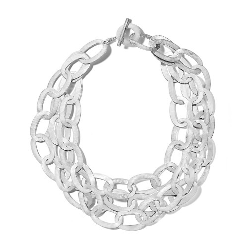 Hammered Roma Links 2-in-1 Necklace in Sterling Silver SN1740