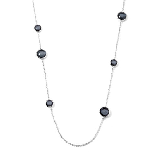 Mixed Multi Stone Station Necklace in Sterling Silver SN283DFHEM