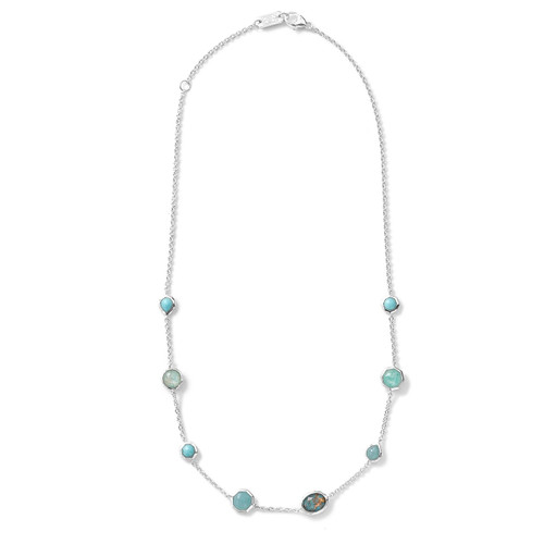 Mini Station Necklace in Sterling Silver SN383TURQAM
