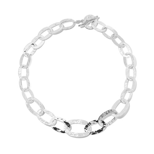 Short Hammered Roma Link Necklace in Sterling Silver SN494X20