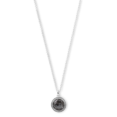 Mini Pendant Necklace in Sterling Silver with Diamonds SN512DFHEMDIA