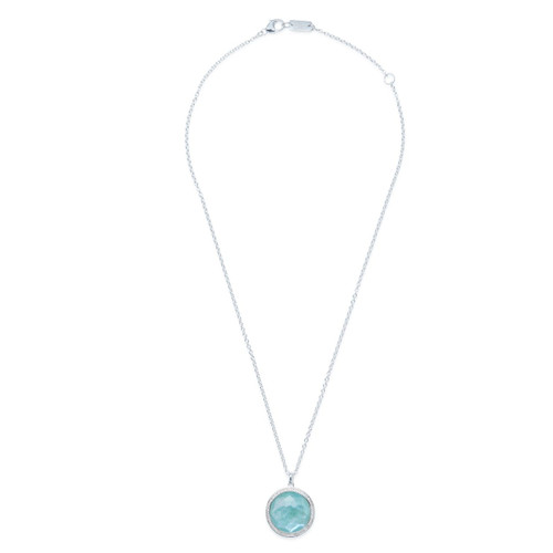 Medium Pendant Necklace in Sterling Silver with Diamonds SN767TFCQMPAZDIA