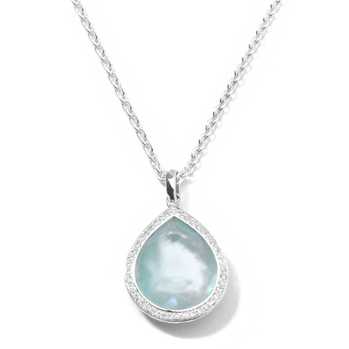 Teardrop Pendant Necklace in Sterling Silver with Diamonds SN768DFBTMOPDIA