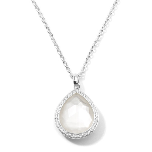 Teardrop Pendant Necklace in Sterling Silver with Diamonds SN768DFMOPDIA
