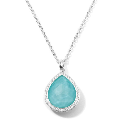 Teardrop Pendant Necklace in Sterling Silver with Diamonds SN768DFTQDIA