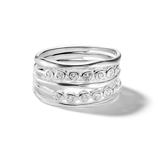 Five Band Twilight Ring in Sterling Silver with Diamonds SR080DIA