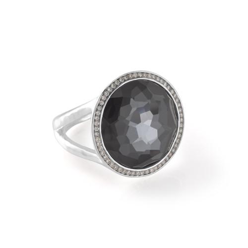 Medium Ring in Sterling Silver with Diamonds SR385DFHEMDIA