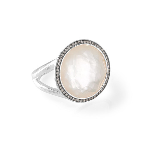 Medium Ring in Sterling Silver with Diamonds SR385DFMOPDIA
