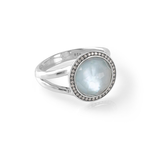 Mini Ring in Sterling Silver with Diamonds SR386DFBTMOPDIA
