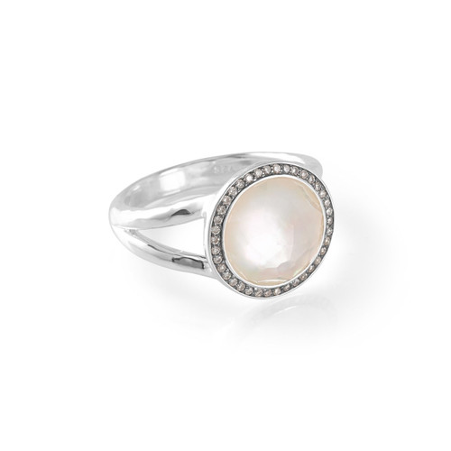 Mini Ring in Sterling Silver with Diamonds SR386DFMOPDIA
