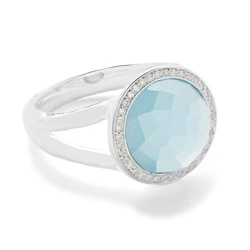 Mini Ring in Sterling Silver with Diamonds SR386DFSBTMGLDIA