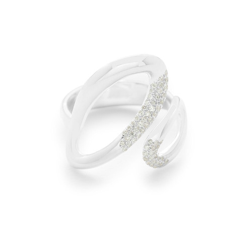 Small Bypass Ring in Sterling Silver with Diamonds SR885DIA