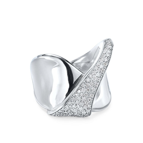 Folded Pave Ribbon Ring with Diamonds in Sterling Silver SR935DIA