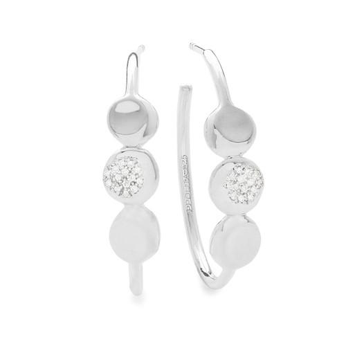 Hoop Earrings with Pavé Diamonds in Sterling Silver SE2126DIA