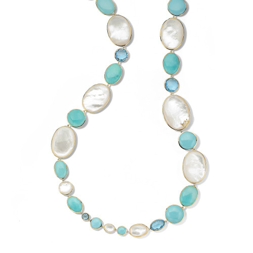 All-Stone Long Necklace in 18K Gold GN1547CASCATA
